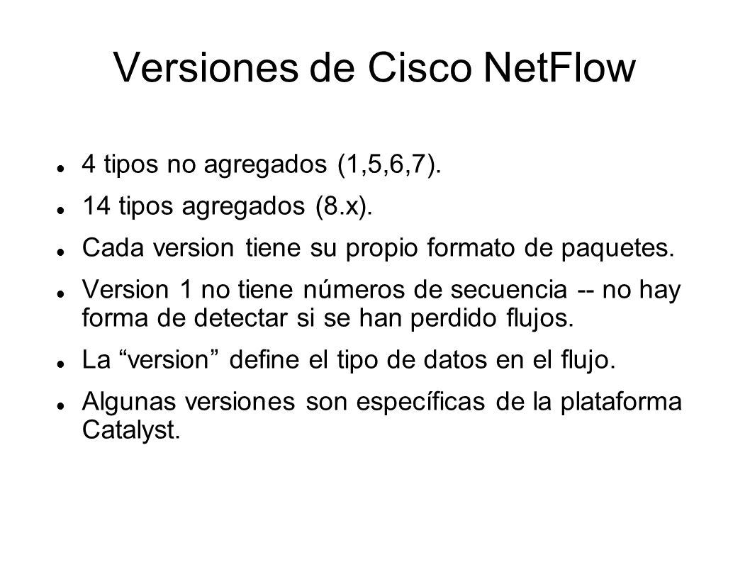 Versiones de Cisco NetFlow