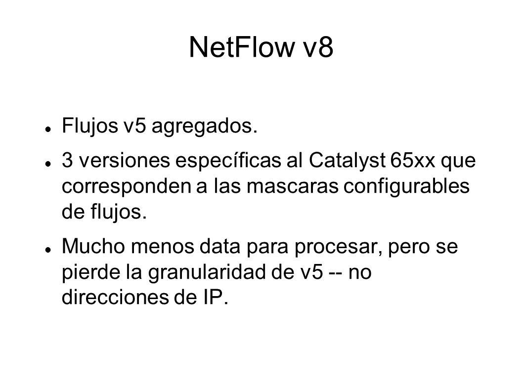 NetFlow v8 Flujos v5 agregados.