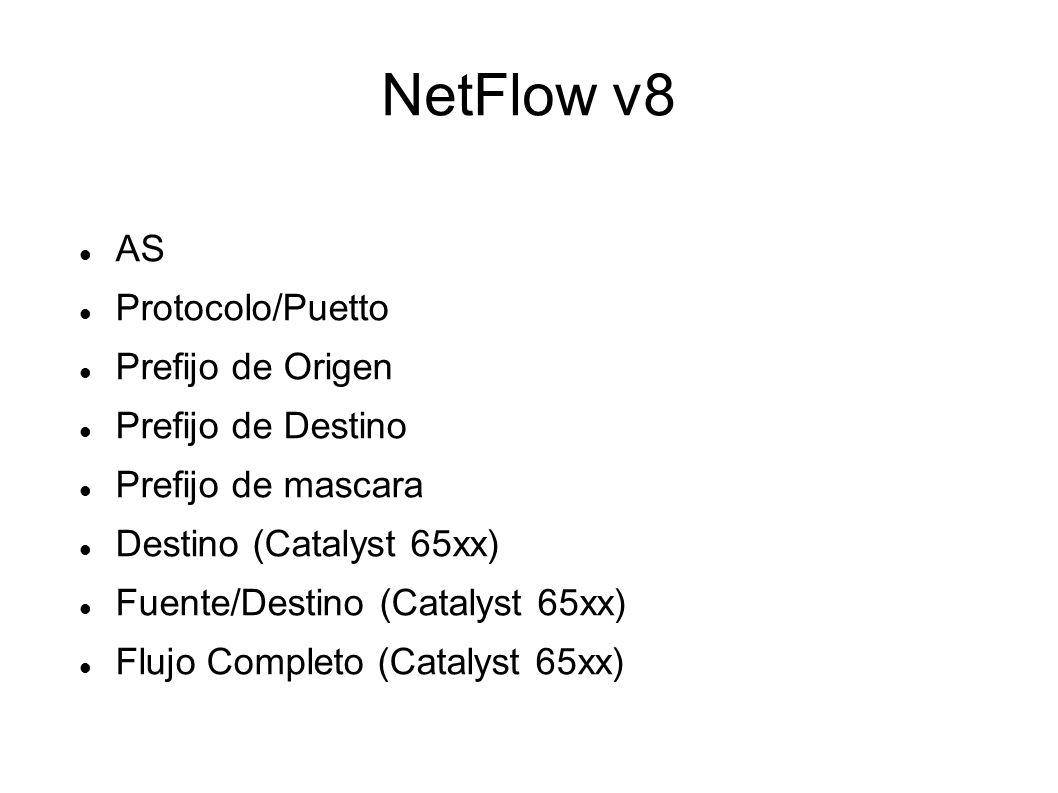 NetFlow v8 AS Protocolo/Puetto Prefijo de Origen Prefijo de Destino