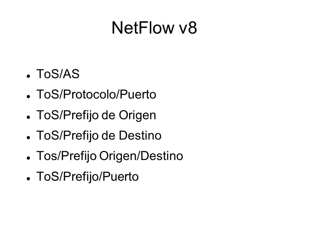 NetFlow v8 ToS/AS ToS/Protocolo/Puerto ToS/Prefijo de Origen