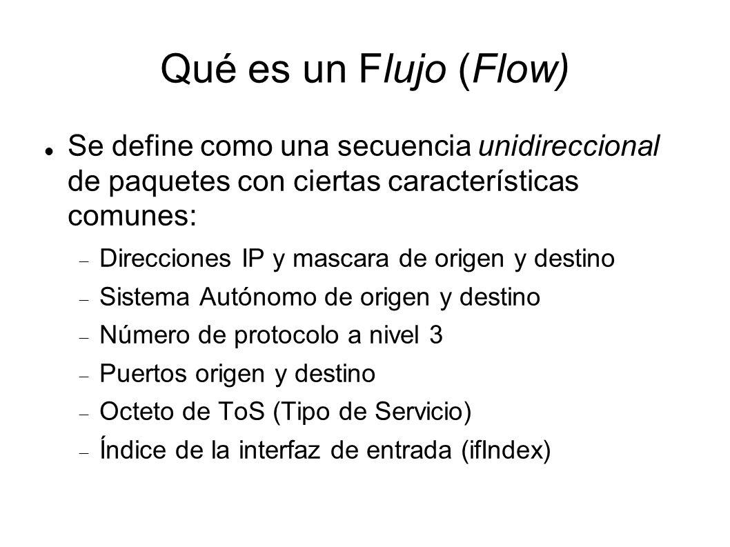 Qué es un Flujo (Flow) Se define como una secuencia unidireccional de paquetes con ciertas características comunes: