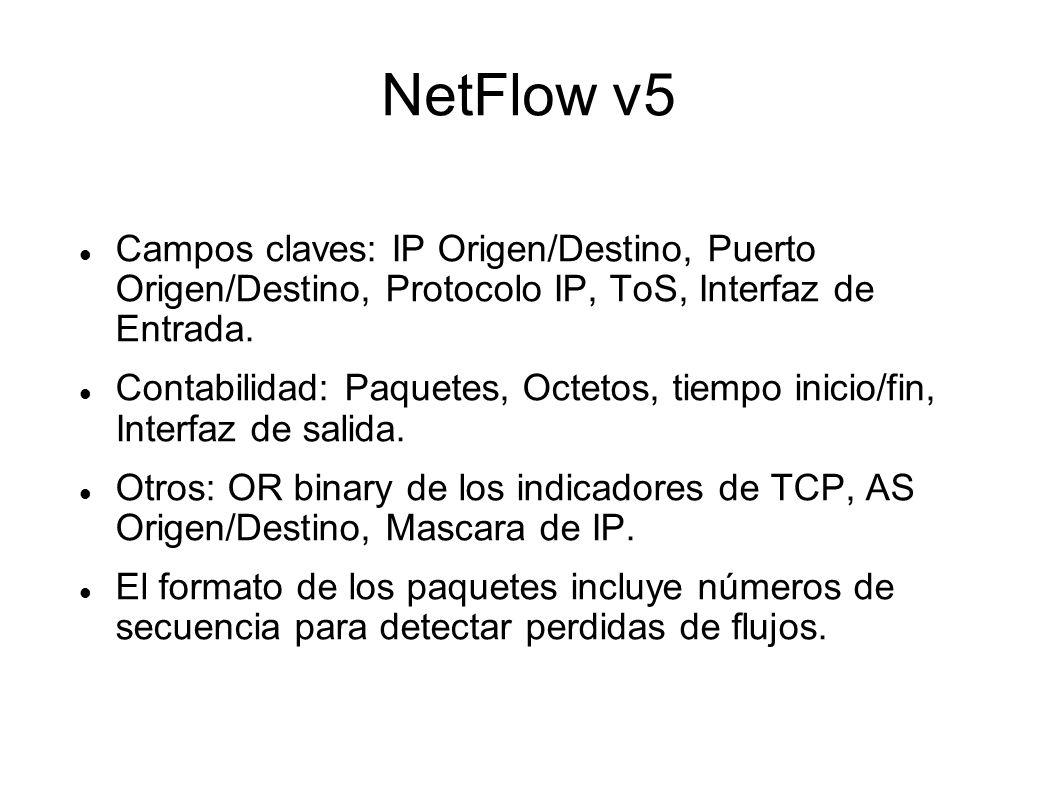 NetFlow v5 Campos claves: IP Origen/Destino, Puerto Origen/Destino, Protocolo IP, ToS, Interfaz de Entrada.