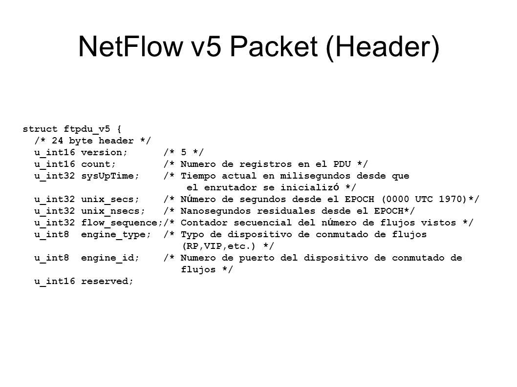 NetFlow v5 Packet (Header)