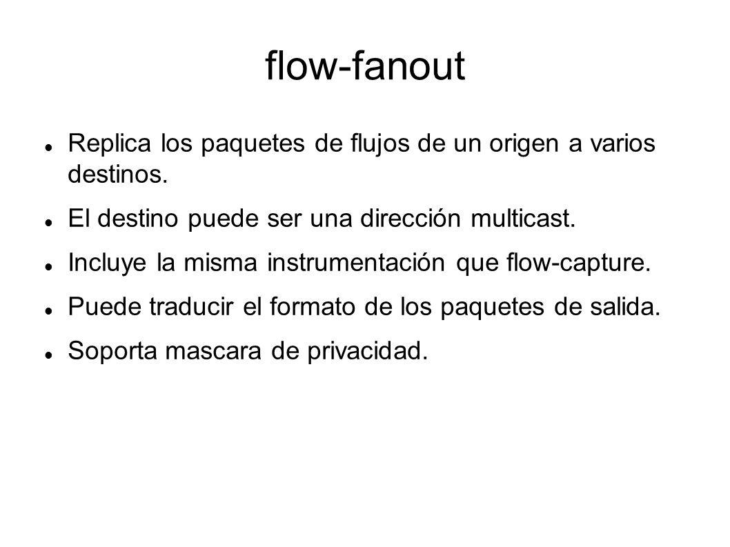 flow-fanout Replica los paquetes de flujos de un origen a varios destinos. El destino puede ser una dirección multicast.