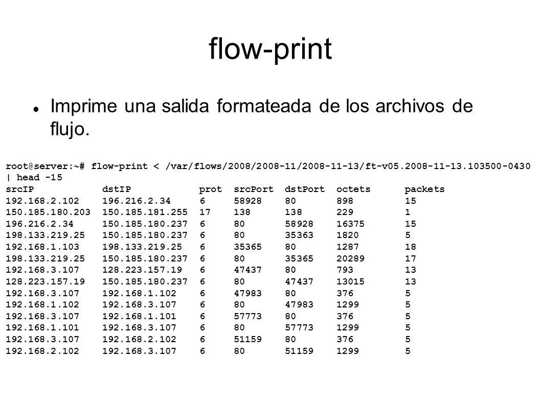 flow-print Imprime una salida formateada de los archivos de flujo.
