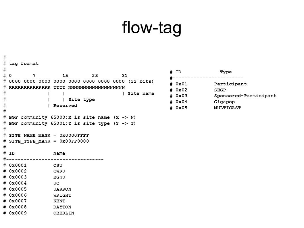 flow-tag # # tag format # 0 7 15 23 31