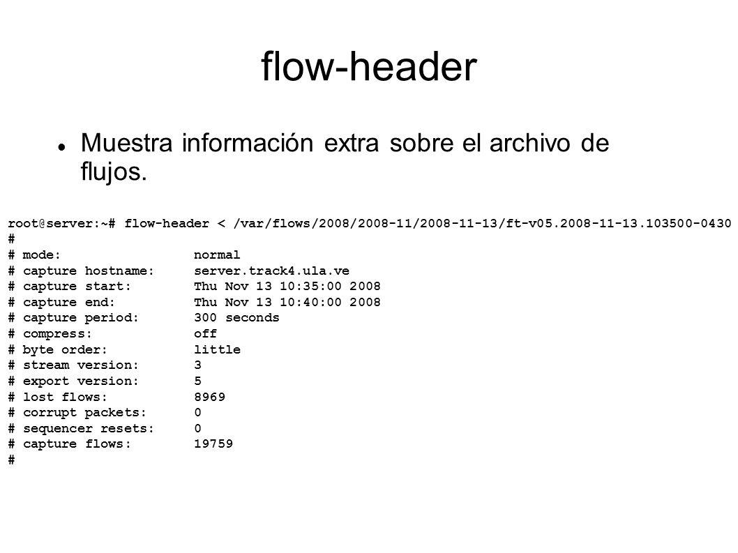 flow-header Muestra información extra sobre el archivo de flujos.