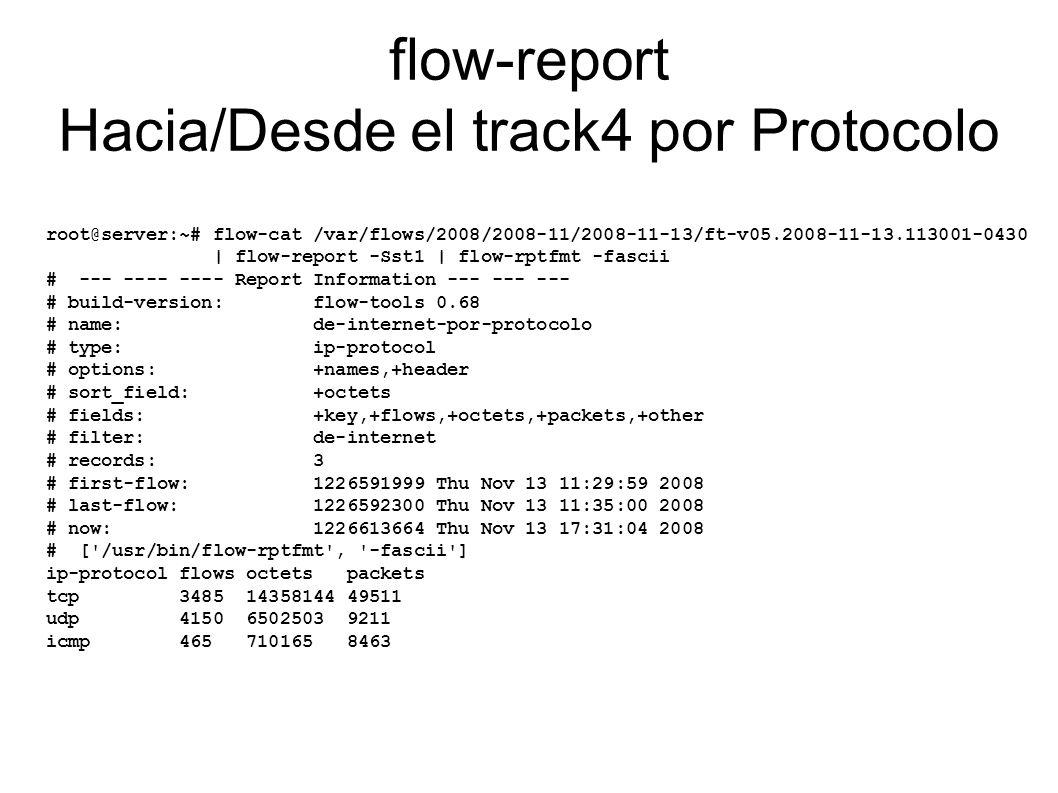 flow-report Hacia/Desde el track4 por Protocolo