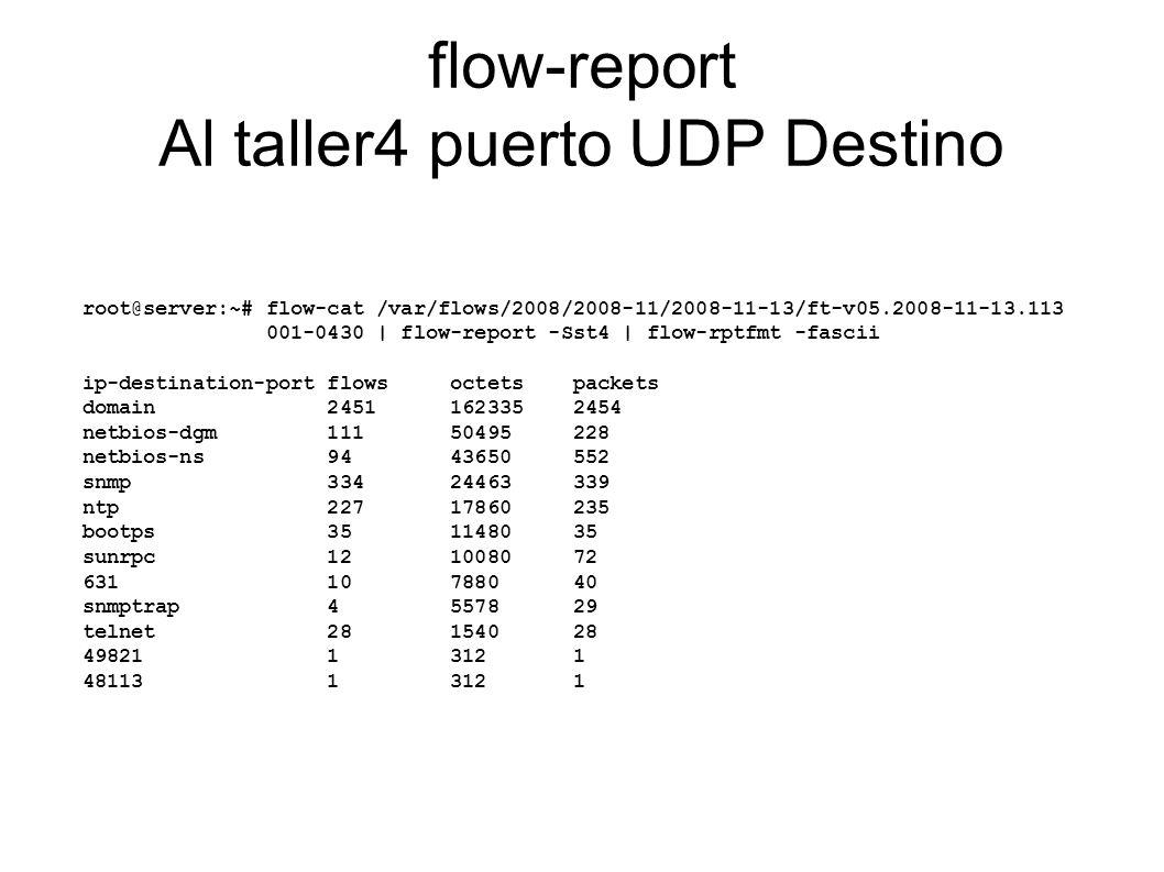 flow-report Al taller4 puerto UDP Destino
