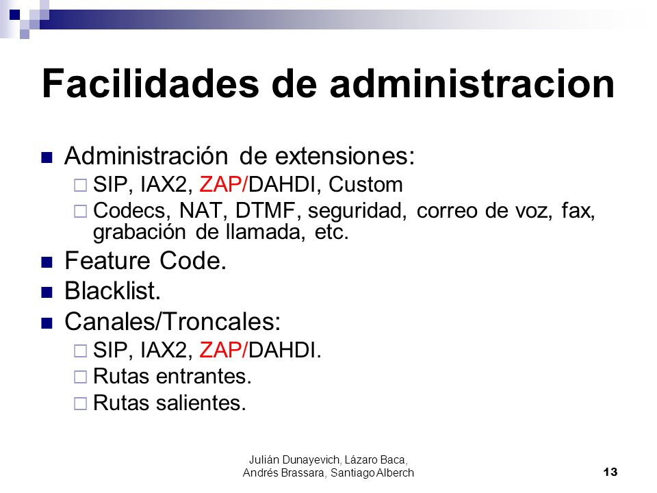 Facilidades de administracion