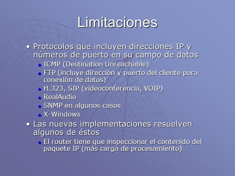 Limitaciones Protocolos que incluyen direcciones IP y números de puerto en su campo de datos. ICMP (Destination Unreachable)