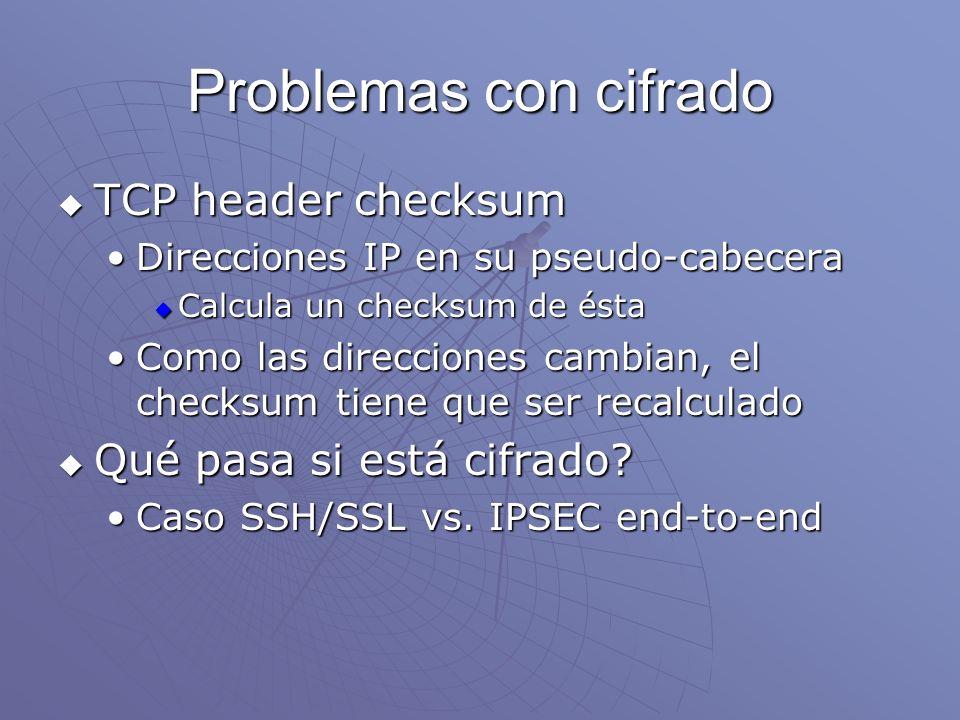 Problemas con cifrado TCP header checksum Qué pasa si está cifrado