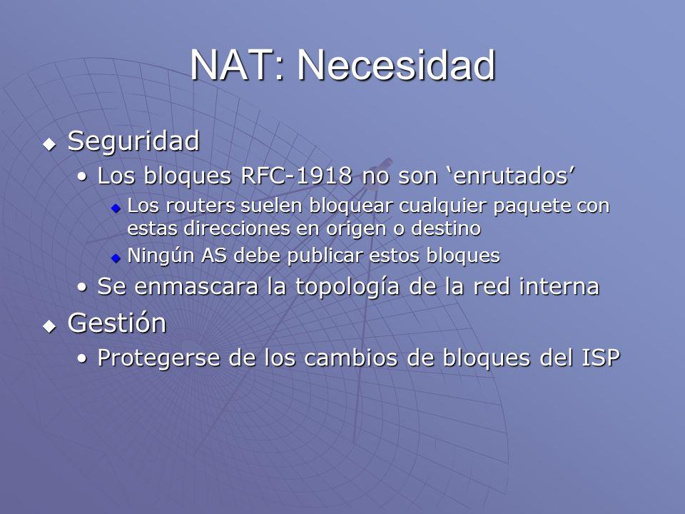 NAT: Necesidad Seguridad Gestión