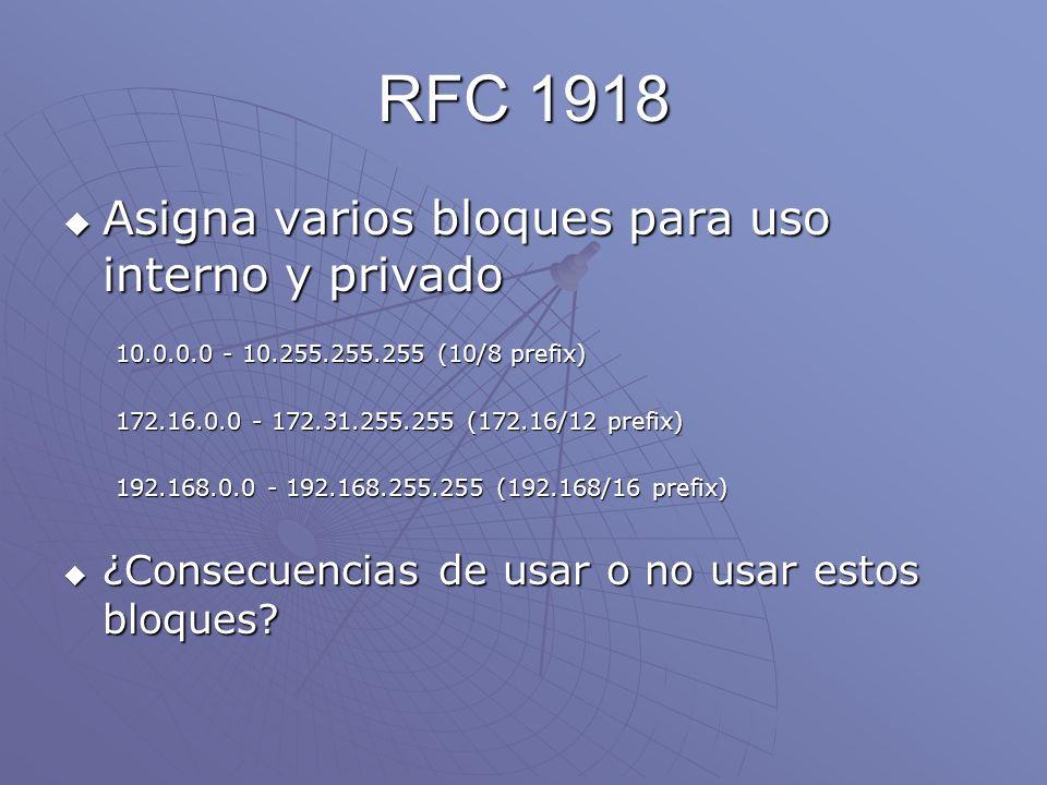RFC 1918 Asigna varios bloques para uso interno y privado