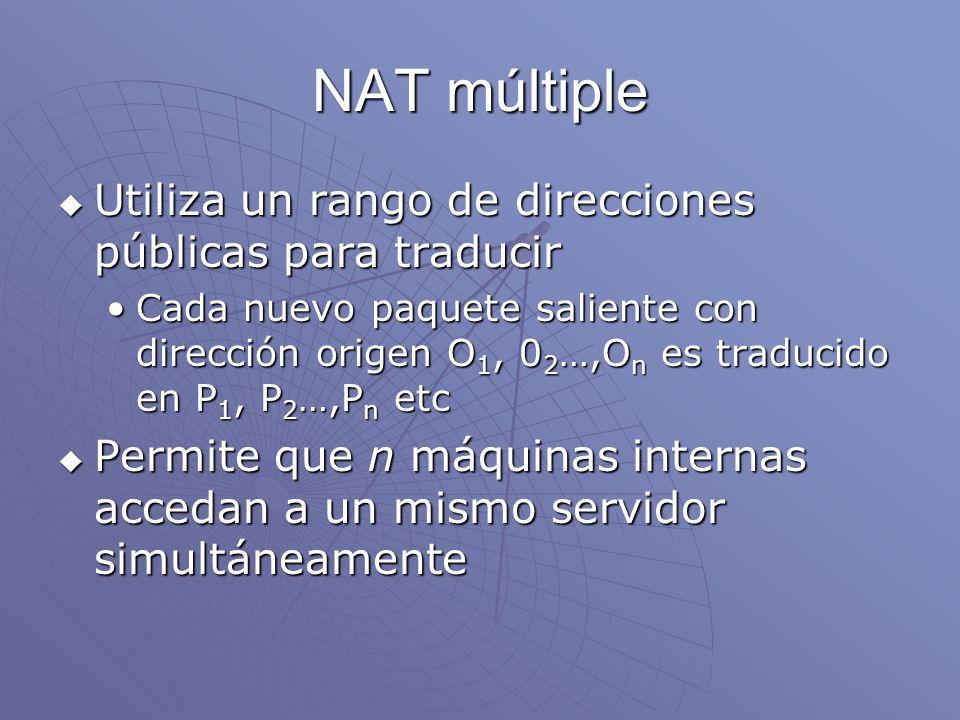 NAT múltiple Utiliza un rango de direcciones públicas para traducir