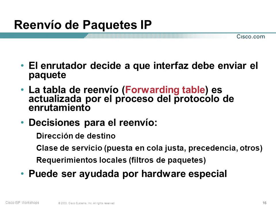 Reenvío de Paquetes IP El enrutador decide a que interfaz debe enviar el paquete.