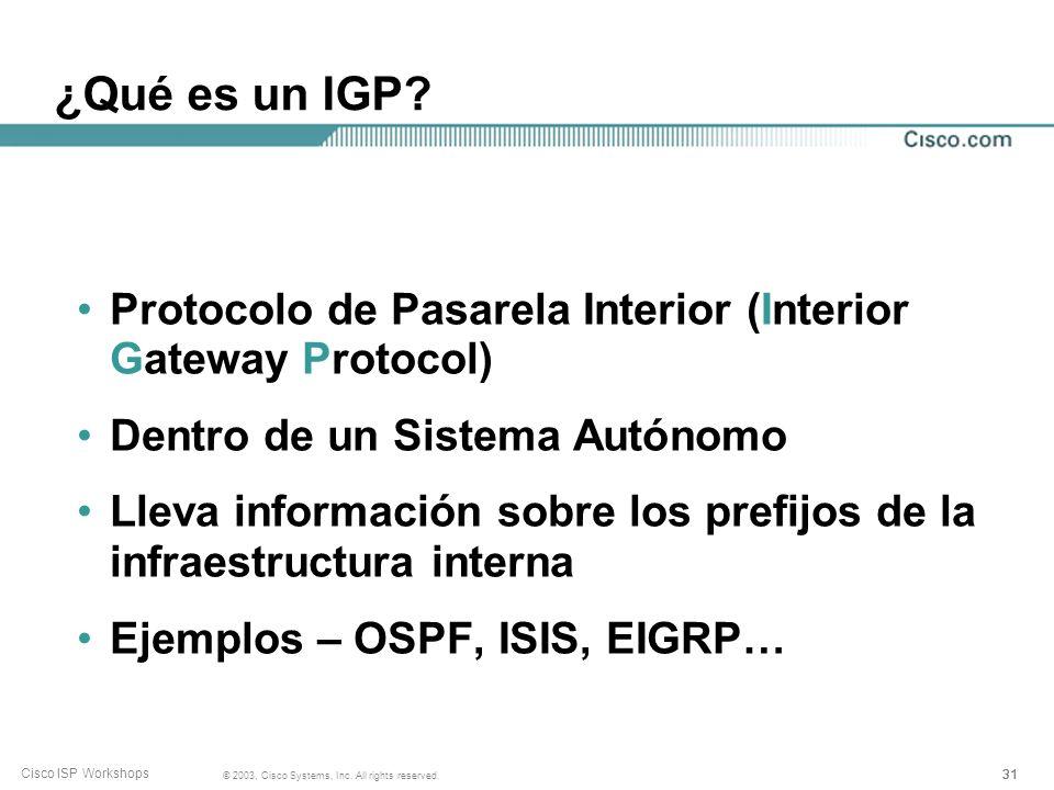 ¿Qué es un IGP Protocolo de Pasarela Interior (Interior Gateway Protocol) Dentro de un Sistema Autónomo.