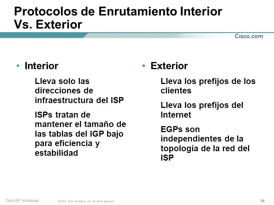 Protocolos de Enrutamiento Interior Vs. Exterior