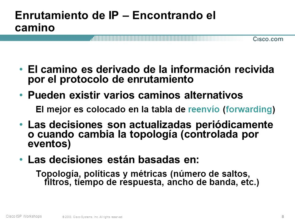 Enrutamiento de IP – Encontrando el camino