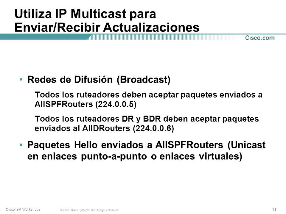 Utiliza IP Multicast para Enviar/Recibir Actualizaciones