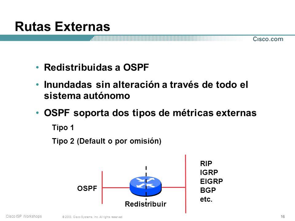 Rutas Externas Redistribuidas a OSPF