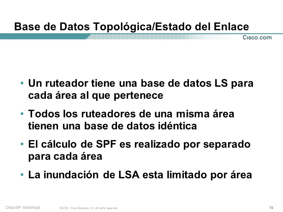 Base de Datos Topológica/Estado del Enlace