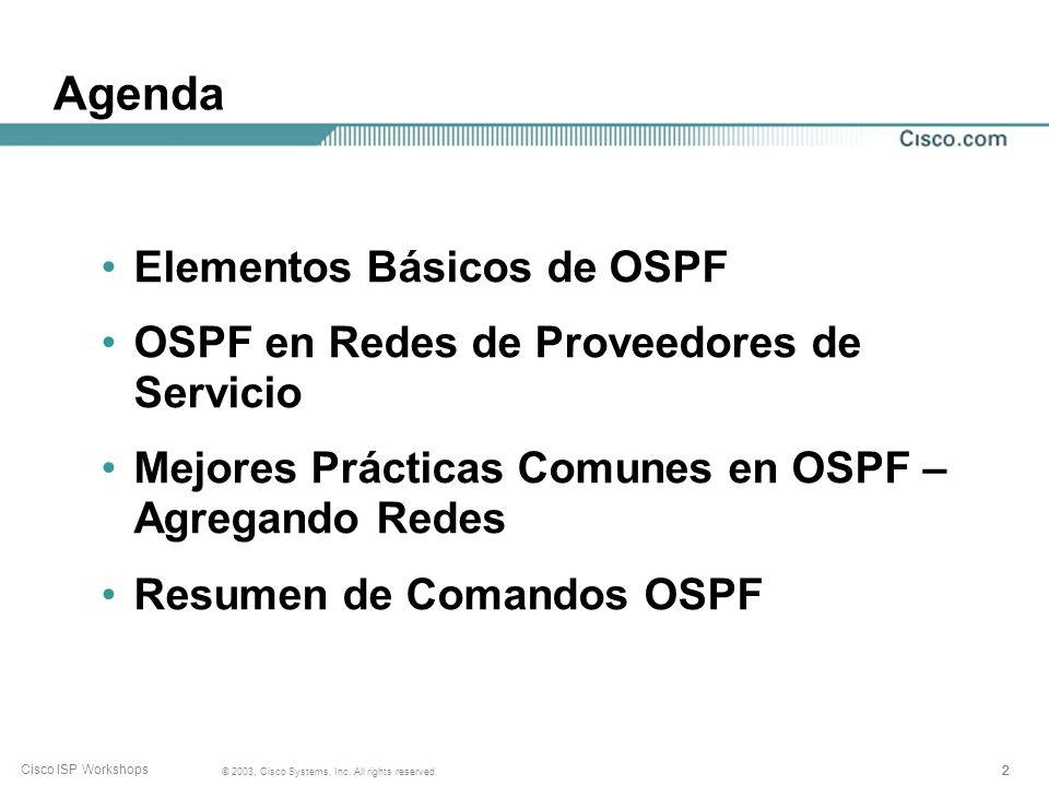 Agenda Elementos Básicos de OSPF