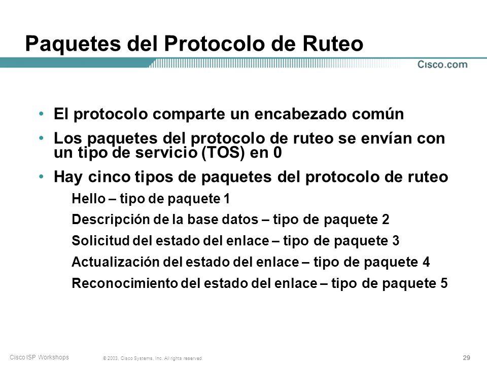 Paquetes del Protocolo de Ruteo