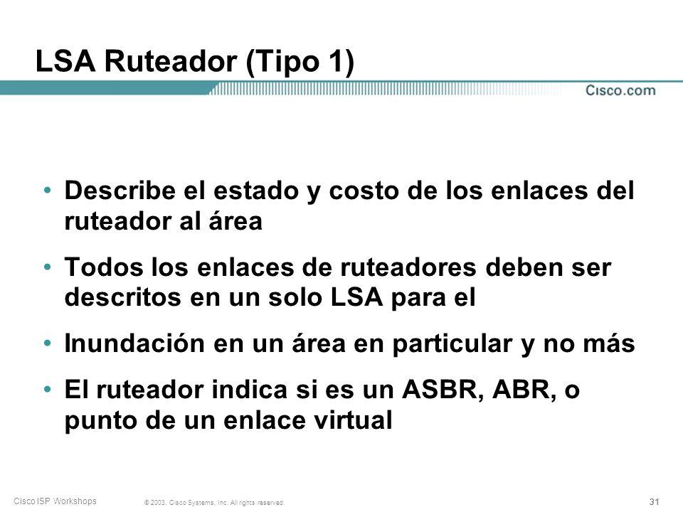 LSA Ruteador (Tipo 1) Describe el estado y costo de los enlaces del ruteador al área.