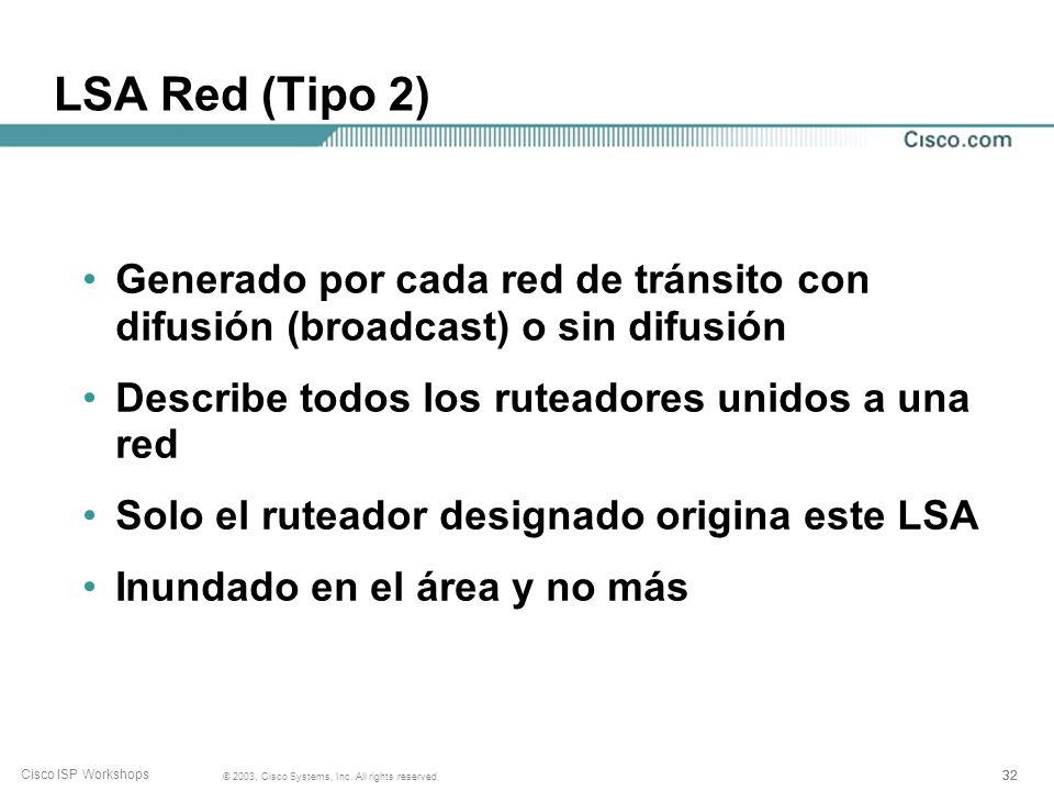 LSA Red (Tipo 2) Generado por cada red de tránsito con difusión (broadcast) o sin difusión. Describe todos los ruteadores unidos a una red.