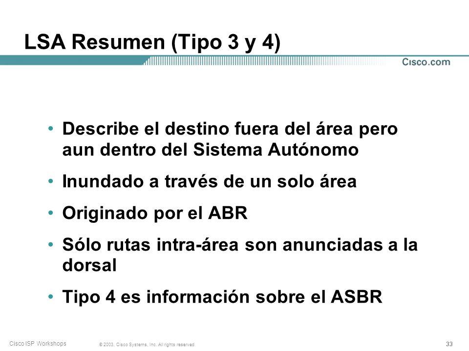 LSA Resumen (Tipo 3 y 4) Describe el destino fuera del área pero aun dentro del Sistema Autónomo. Inundado a través de un solo área.