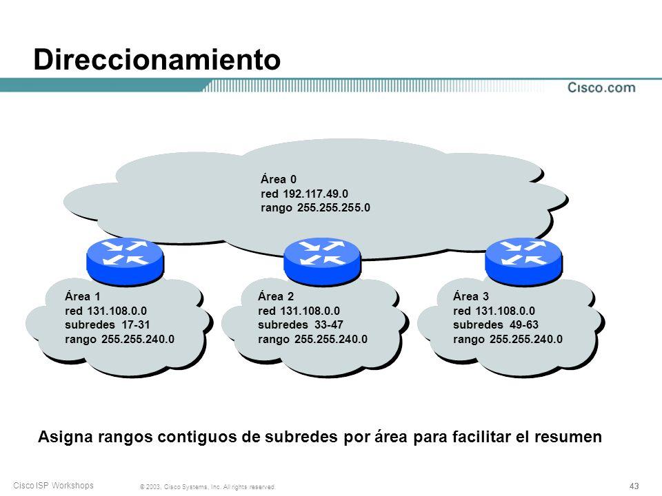 Asigna rangos contiguos de subredes por área para facilitar el resumen