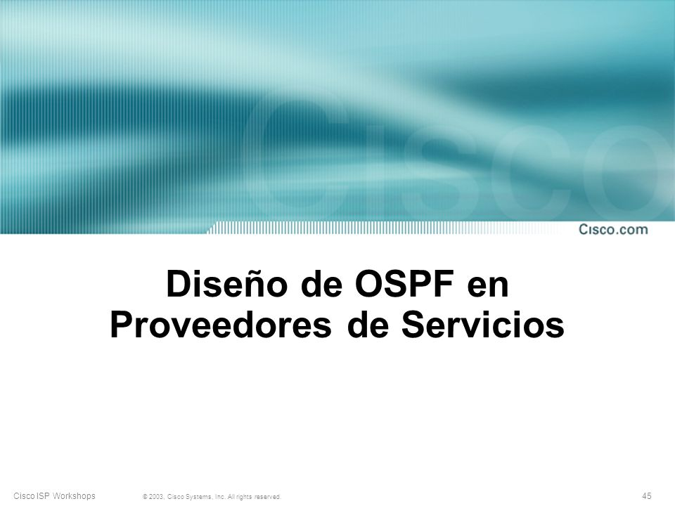 Diseño de OSPF en Proveedores de Servicios