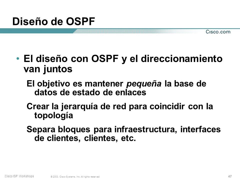 Diseño de OSPF El diseño con OSPF y el direccionamiento van juntos