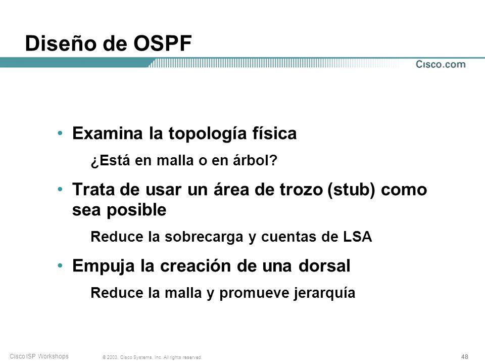 Diseño de OSPF Examina la topología física
