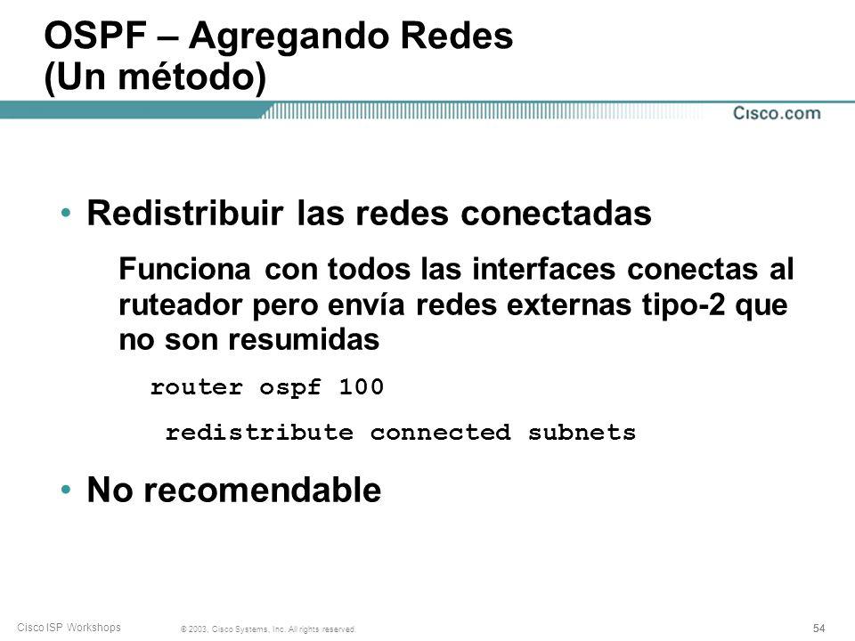 OSPF – Agregando Redes (Un método)