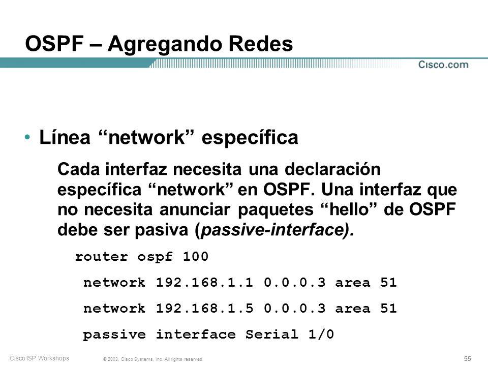 OSPF – Agregando Redes Línea network específica