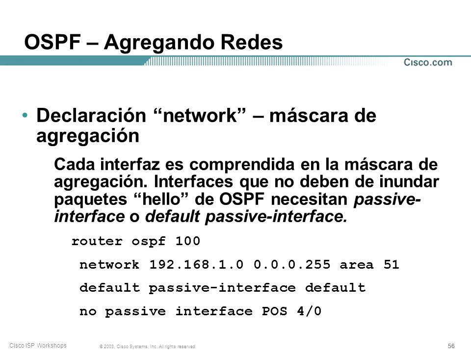 OSPF – Agregando Redes Declaración network – máscara de agregación