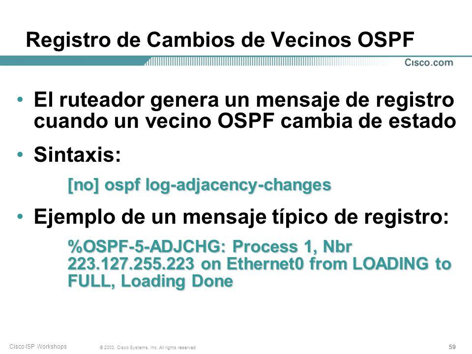 Registro de Cambios de Vecinos OSPF