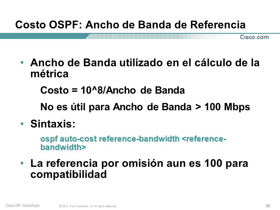 Costo OSPF: Ancho de Banda de Referencia