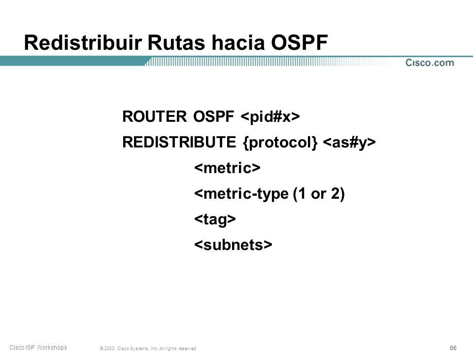 Redistribuir Rutas hacia OSPF