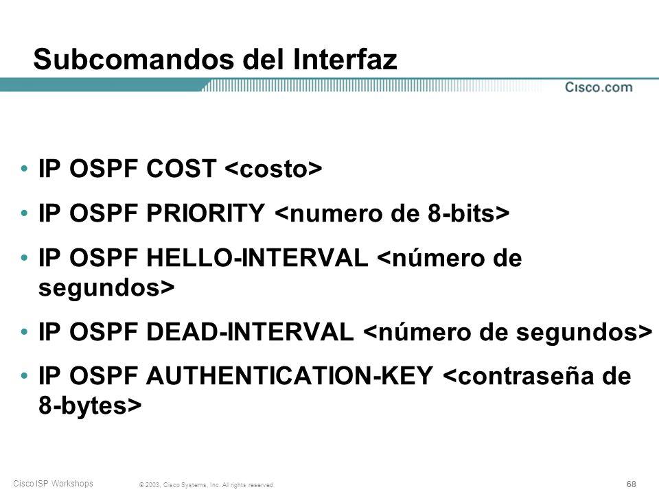 Subcomandos del Interfaz