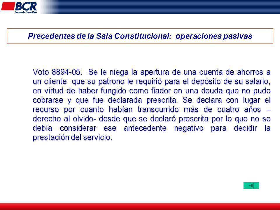 Precedentes de la Sala Constitucional: operaciones pasivas