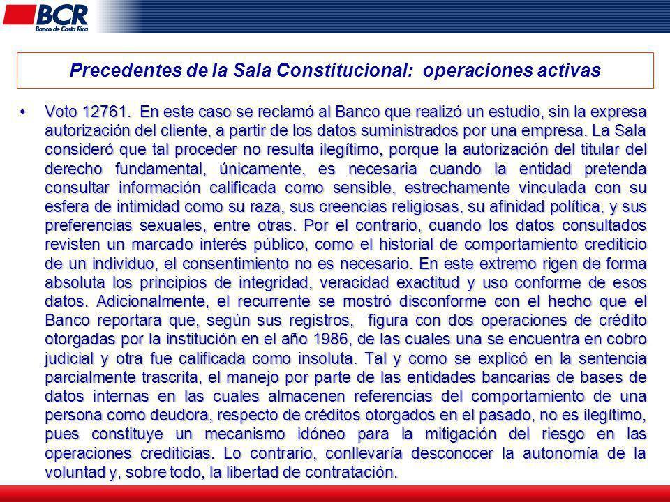 Precedentes de la Sala Constitucional: operaciones activas