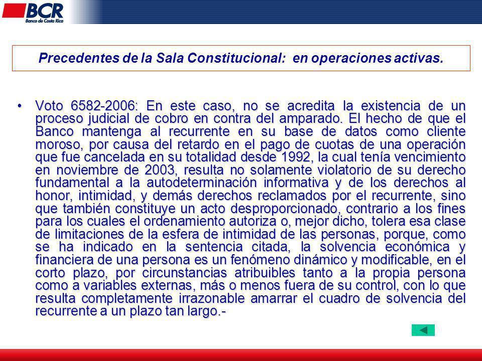 Precedentes de la Sala Constitucional: en operaciones activas.