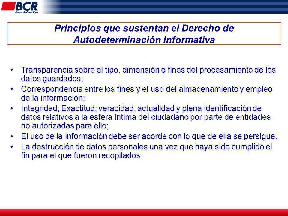 Principios que sustentan el Derecho de Autodeterminación Informativa