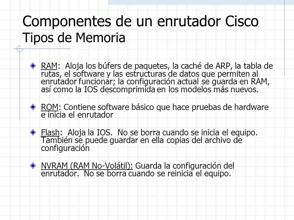 Componentes de un enrutador Cisco Tipos de Memoria