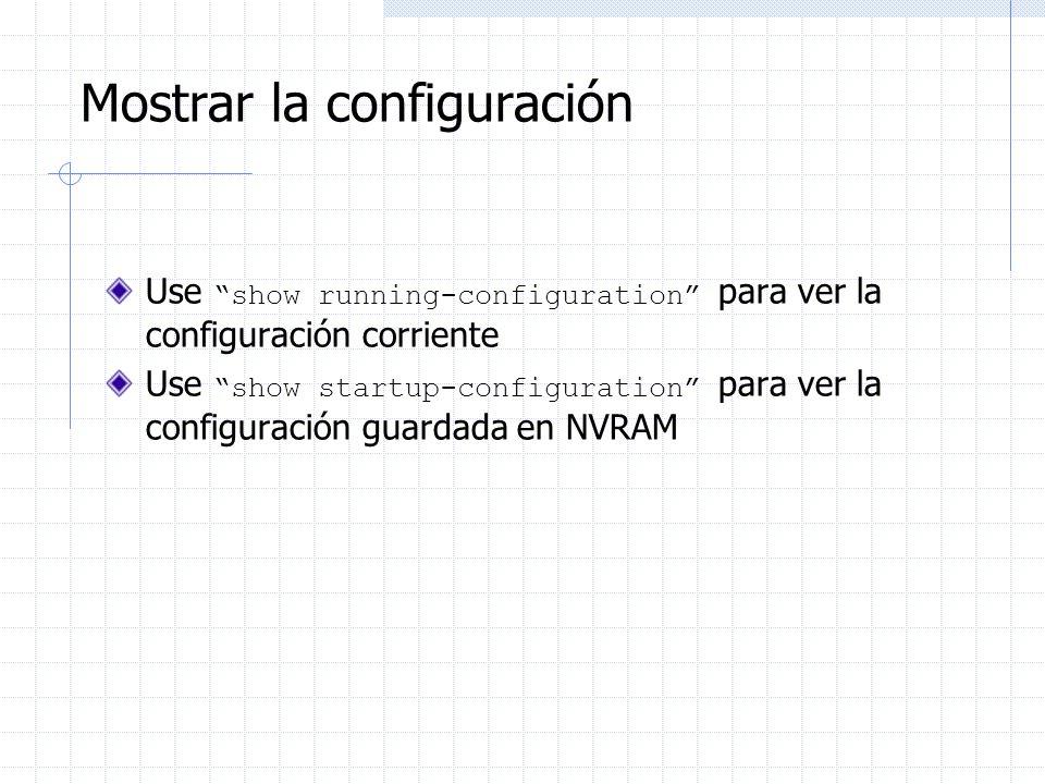 Mostrar la configuración