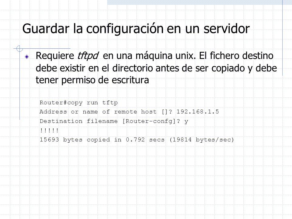 Guardar la configuración en un servidor