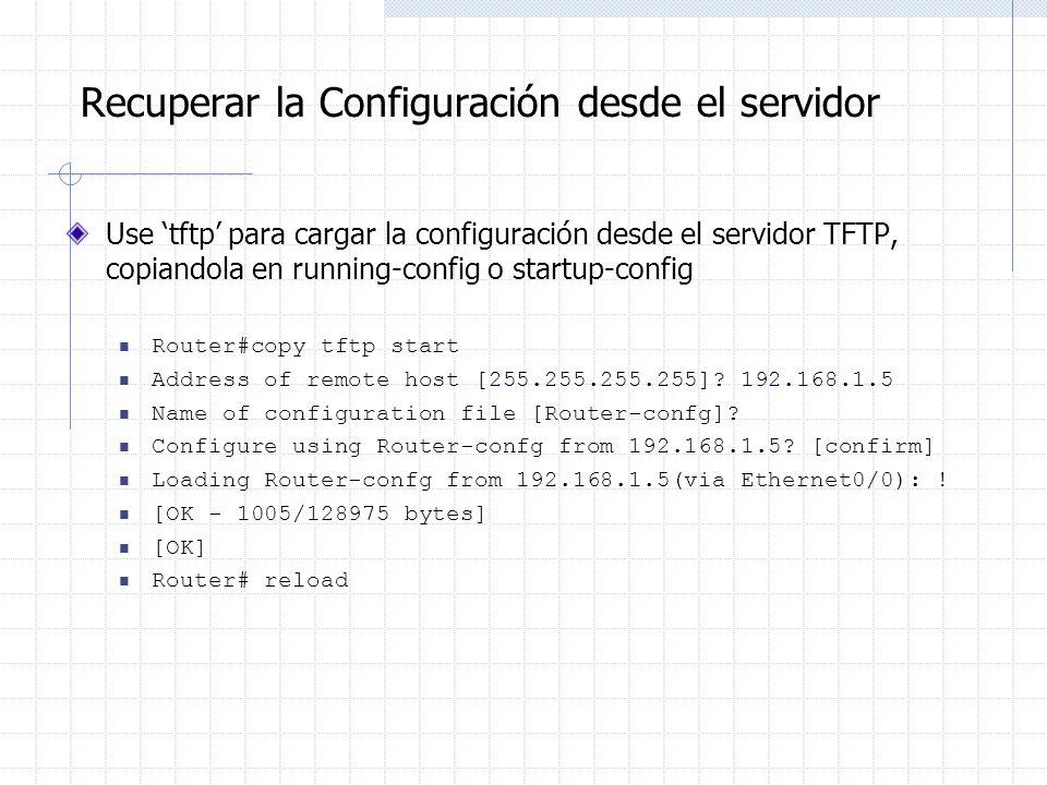 Recuperar la Configuración desde el servidor